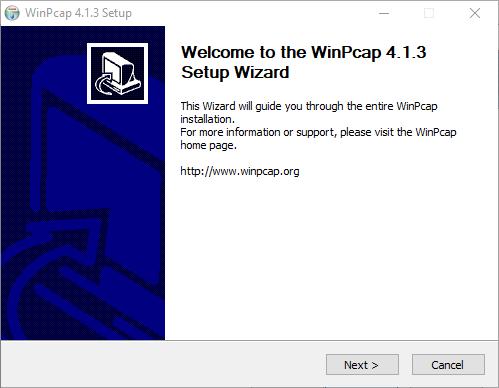 Installation wizard of the WinPCap
