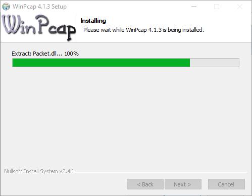 Installation of the WinPCap plugin