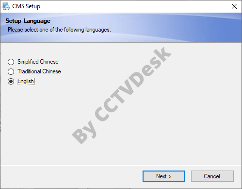 Choose the language of the installer wizard