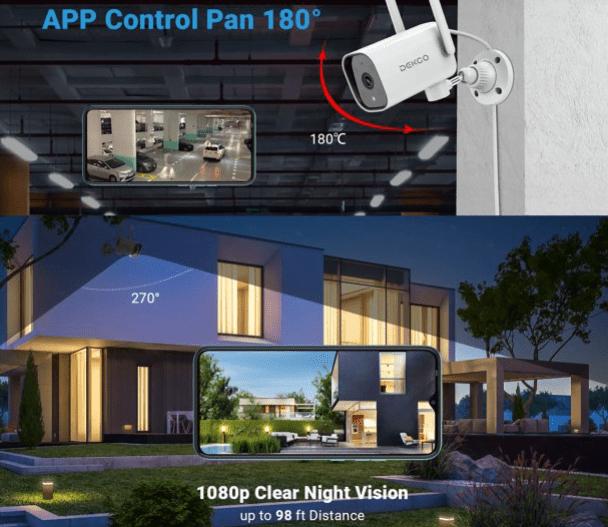 DEKCO 1080P Pan Rotating 180° Outdoor Security Camera 19