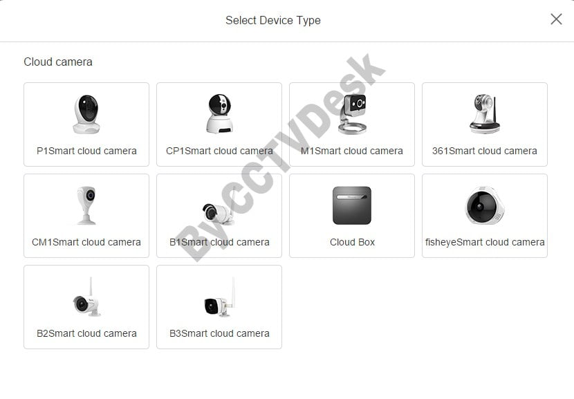 Select device type to add