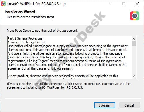 The license agreement of xmartO WallPixel