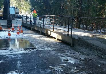 Temporary Bridge Installed over Section of Blagen Road Damaged by Flooding
