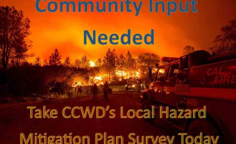 Flyer asking for the community's input on the District's 2017 Local Hazard Mitigation Plan update.