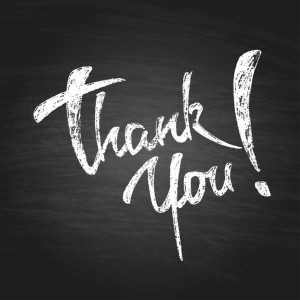 40241116 - thank you chalk hand drawing greeting card. vector background