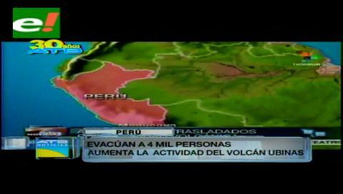 Evacúan a 4.000 personas de las zonas cercanas al volcán Ubinas en Perú