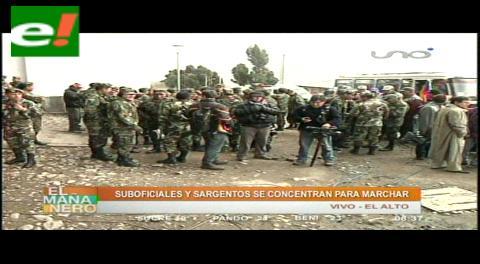 Suboficiales y sargentos se refuerzan en El Alto para una gran movilización este jueves