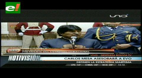 Evo designa a Carlos Mesa para explicar la demanda marítima en foros internacionales