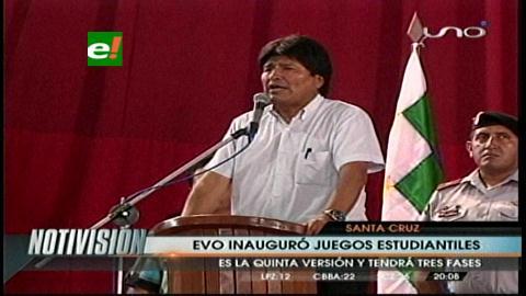 Evo inauguró los V Juegos Deportivos Estudiantiles en Santa Cruz