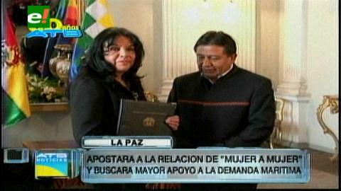 """Cajías dice que apostará a la relación """"de mujer a mujer"""" con Bachelet"""