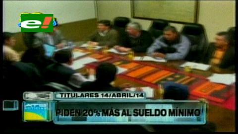 Titulares: Propuesta del Gobierno no convence a la COB, piden el 20% de incremento al salario mínimo