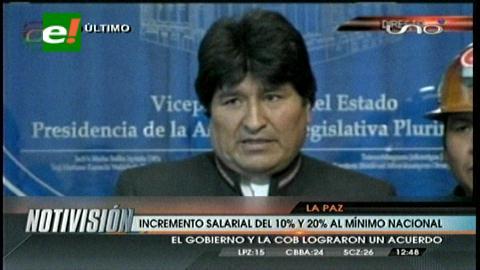 Sube salario mínimo nacional a 1.440 bolivianos