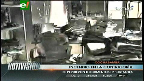 Estiman que reparación de daños por incendio en Contraloría de Cochabamba demorará dos meses