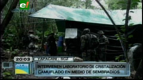 Policía desmantela fábrica de cristalización de cocaína en Yapacaní