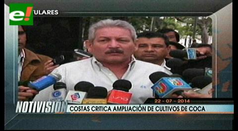 Titulares: Costas critica ampliación de cultivos de coca