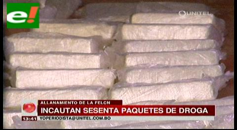 Incautan sesenta paquetes de droga en un domicilio