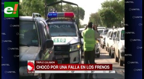 Triple colisión en Avenida San Aurelio