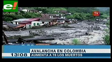 Colombia: asciende a 78 el número de muertos por avalancha