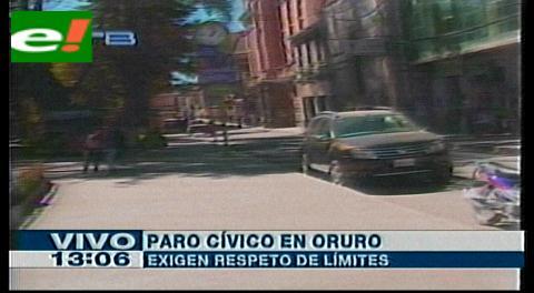 Paro cívico en Oruro exige solución a lío limítrofe