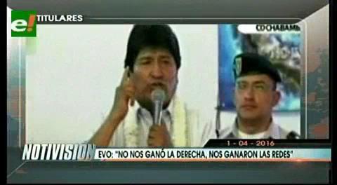 """Titulares de TV: Evo: """"No nos ganó la derecha, nos ganaron las redes"""""""