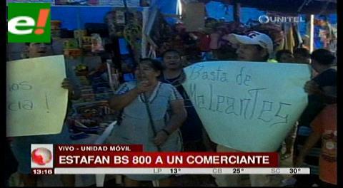 Estafan 800 bolivianos a comerciante de material escolar