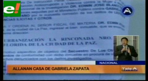 Titulares de TV: Allanan casa de Zapata y su hija se esconde bajo la cama