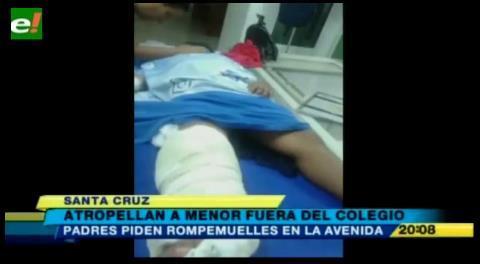 Menor de edad fue atropellado fuera de su colegio por falta de rompemuelles
