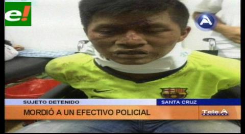 Sujeto detenido muerde a un efectivo policial