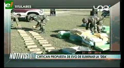 Titulares de TV: Políticos de oposición y ex autoridades critican propuesta de Evo de eliminar la DEA, afirman que los únicos felices serían los narcotraficantes