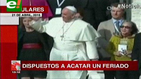 Titulares de TV: Empresarios privados de Santa Cruz, dispuestos a acatar el feriado por la visita del Papa