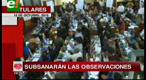Titulares de TV: Asamblea Plurinacional sesionará esta tarde para subsanar las observaciones realizadas por el TSE