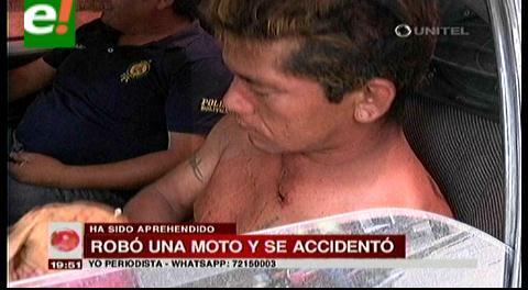 Un hombre robó una moto y se accidentó