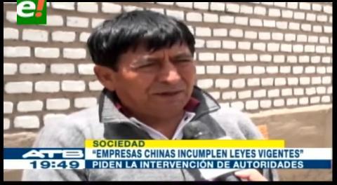 Trabajadores bolivianos de empresa china denuncian maltratos