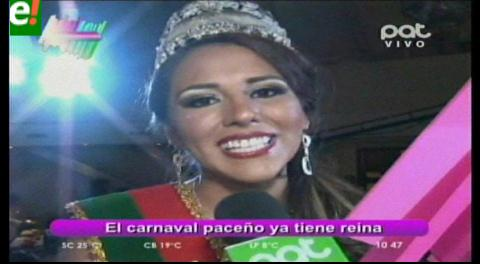 Karen Mita es la reina del carnaval paceño 2016