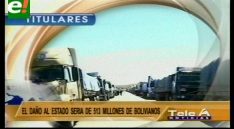 Titulares de TV: Más de 6000 vehículos bloqueados en 6 departamentos de Bolivia
