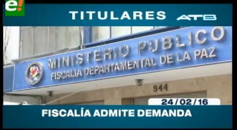 Titulares de TV: Fiscalía General acepta la demanda de Gabriela Zapata contra Carlos Valverde