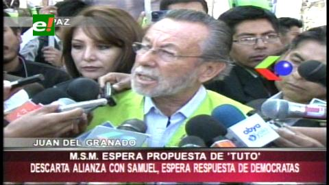 Propuesta de Tuto Quiroga: Del Granado la analizará, Doria Medina dice que no es viable