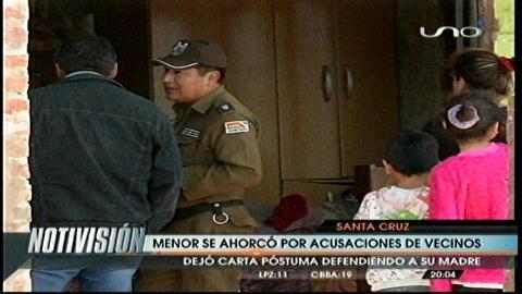 Adolescente se quitó la vida por acusaciones de vecinos hacia su madre