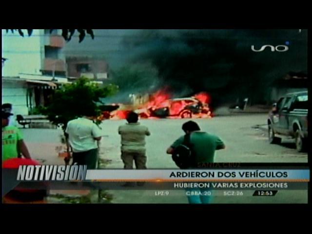 Santa Cruz: Explotan dos vehículos tras accidente en el centro de la ciudad