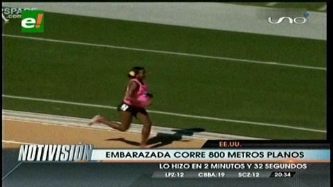 Corre 800 metros con 8 meses de embarazo