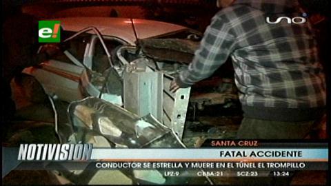 """Conductor muere tras estrellar su vehículo en el Túnel """"El Trompillo"""
