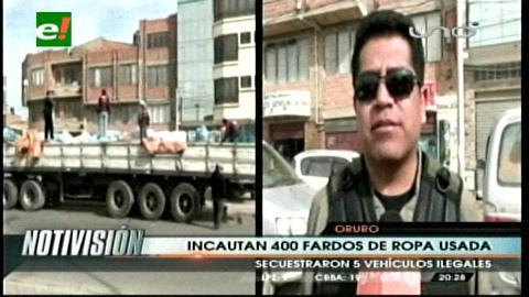 Oruro: COA incauta 400 fardos de ropa usada