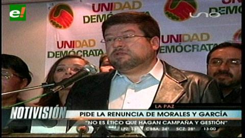 Doria Medina pide la renuncia de Morales y García Linera