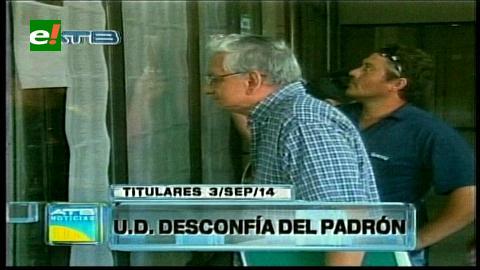 Titulares: UD desconfía del padrón electoral, piden al TSE un informe del proceso de depuración