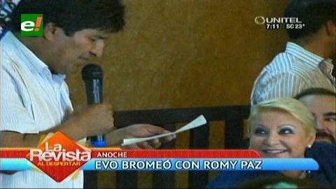 "Evo y la ""gringuita"" Romy Paz"