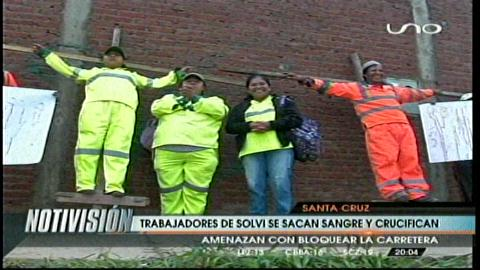 Santa Cruz: Trabajadores de Solvi continúan movilizaciones con medidas extremas