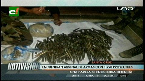 Agentes antidrogas hallan un arsenal en Yapacaní