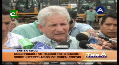 Gobernación cruceña no recibió notificación sobre interpelación a Rubén Costas