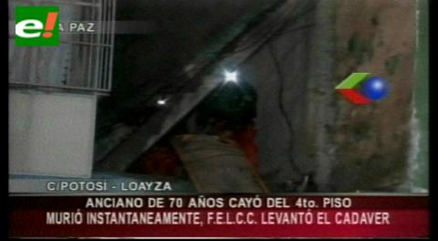 La Paz: Anciano muere al caer de un cuarto piso