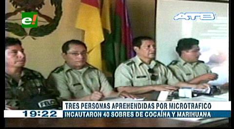 Umopar decomisa droga y aprehende a tres personas en Trinidad